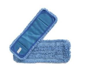 18in Blue Pocket Microfiber Flat Mop 12/pk 4pk/cs